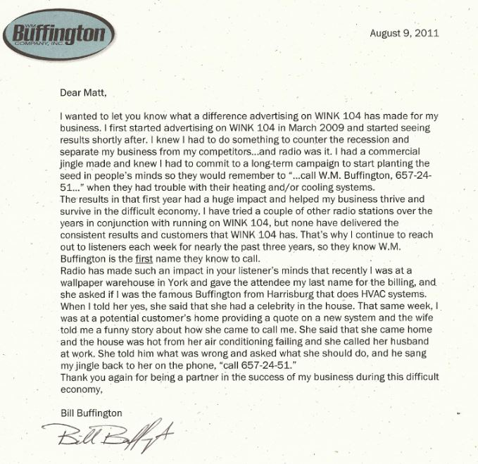 WM Buffington testimonial for radio advertising