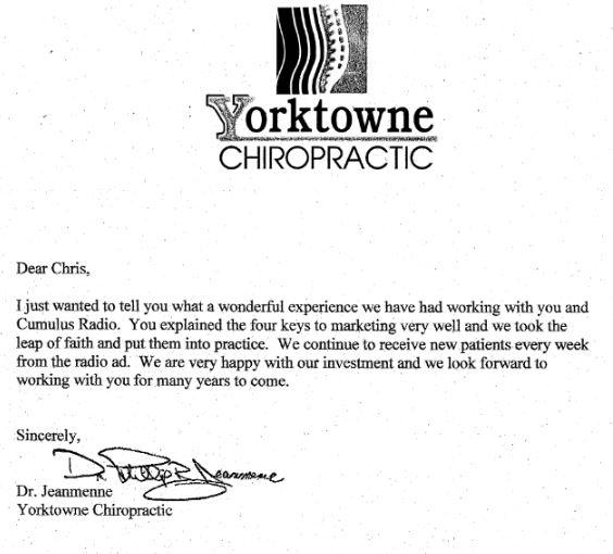 Yorktowne Chiropractic testimonial for radio advertising