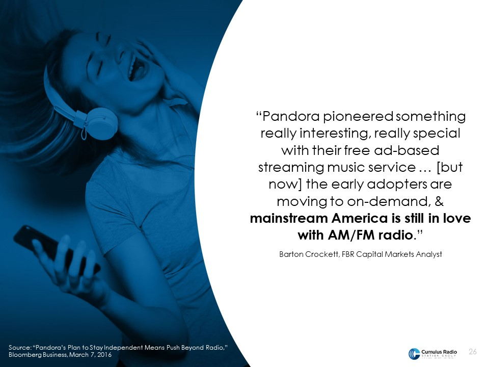 Pandora and spotify eroding demand while radio surges