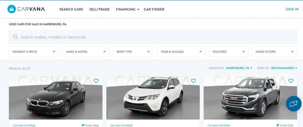 competing against carvana and online auto dealers